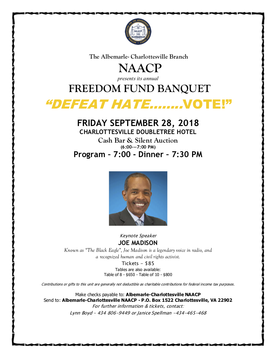 Freedom Fund Banquet Flyer for September 28, 2018